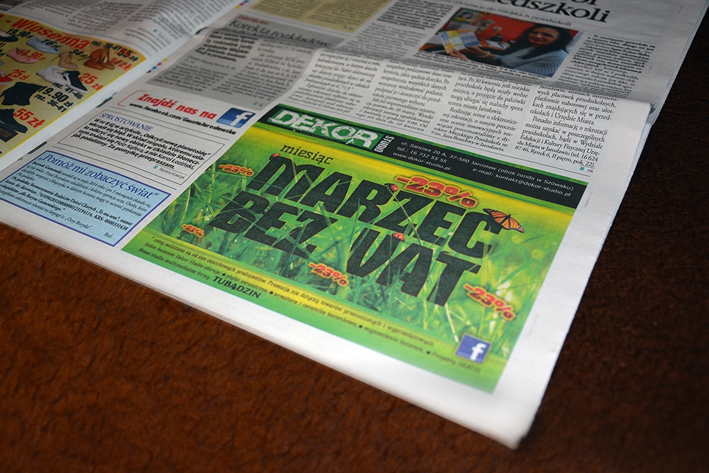 DEKOR Studio. Newspaper ad. Real photo