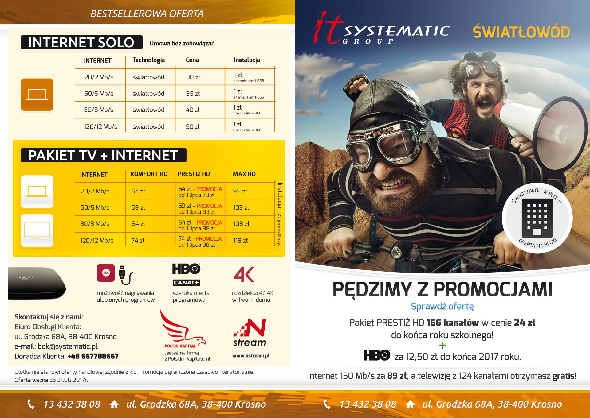 IT Systematic Group. nStream. Prezentacja ulotek składanych A4 do A5. Pędzimy z promocjami. Grafika: VORENUS.pl. Strony zewnętrzne. Żółto biała ulotka składana.