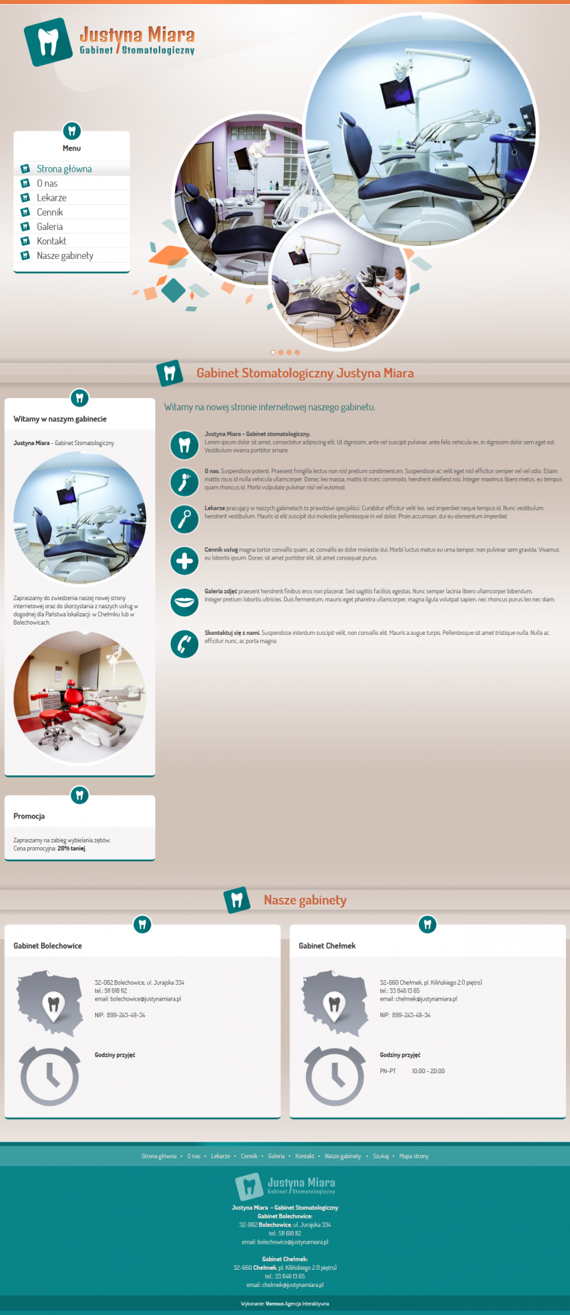 Justyna Miara - Dental Surgery. Website. Home site preview