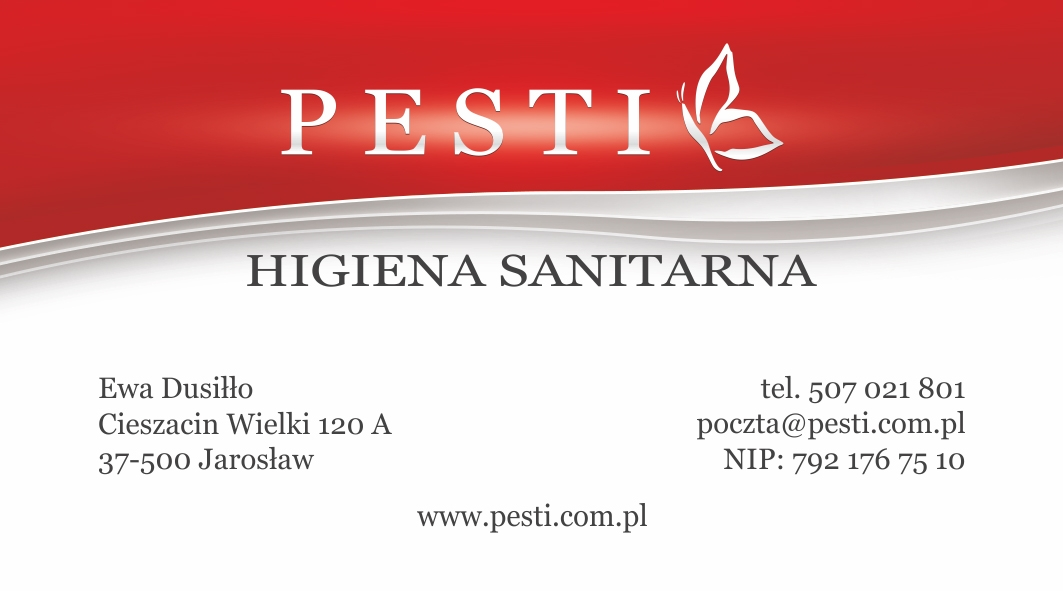 PESTI Sanitary Hygiene - Business card. Front