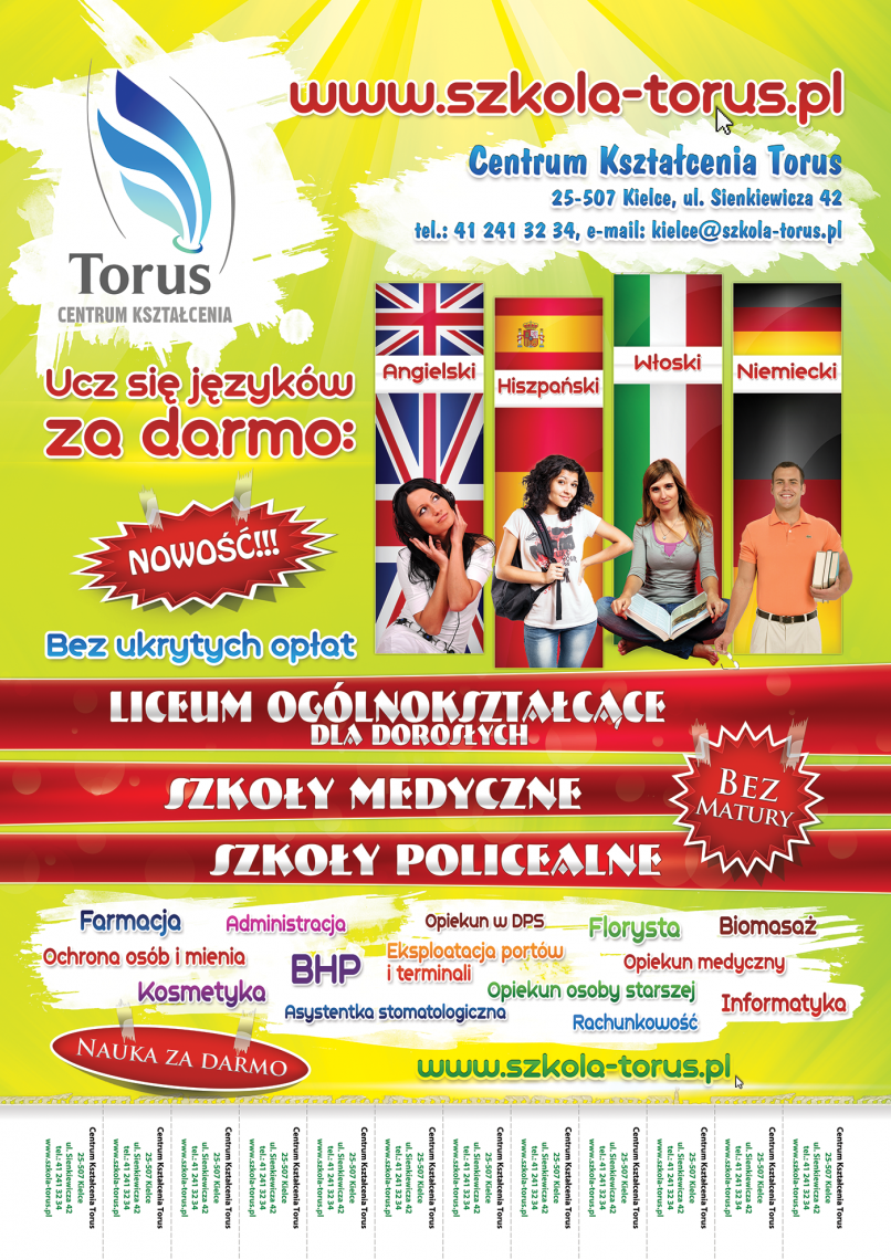 Centrum Ksztalcenia Torus - Training Centre Torus. Language courses. A2 poster