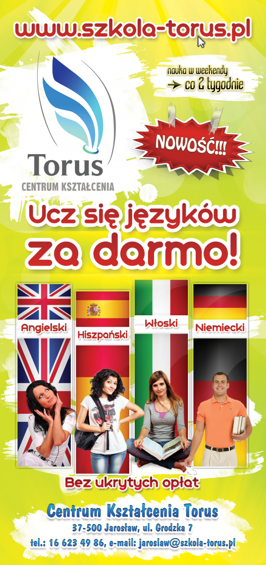 Centrum Ksztalcenia Torus - Training Centre Torus. Language courses. Flyer DL presentation. Front