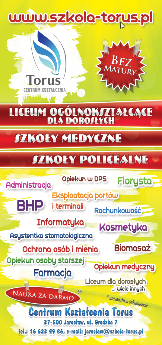 Centrum Ksztalcenia Torus - Training Centre Torus. Language courses. Flyer DL presentation. Back