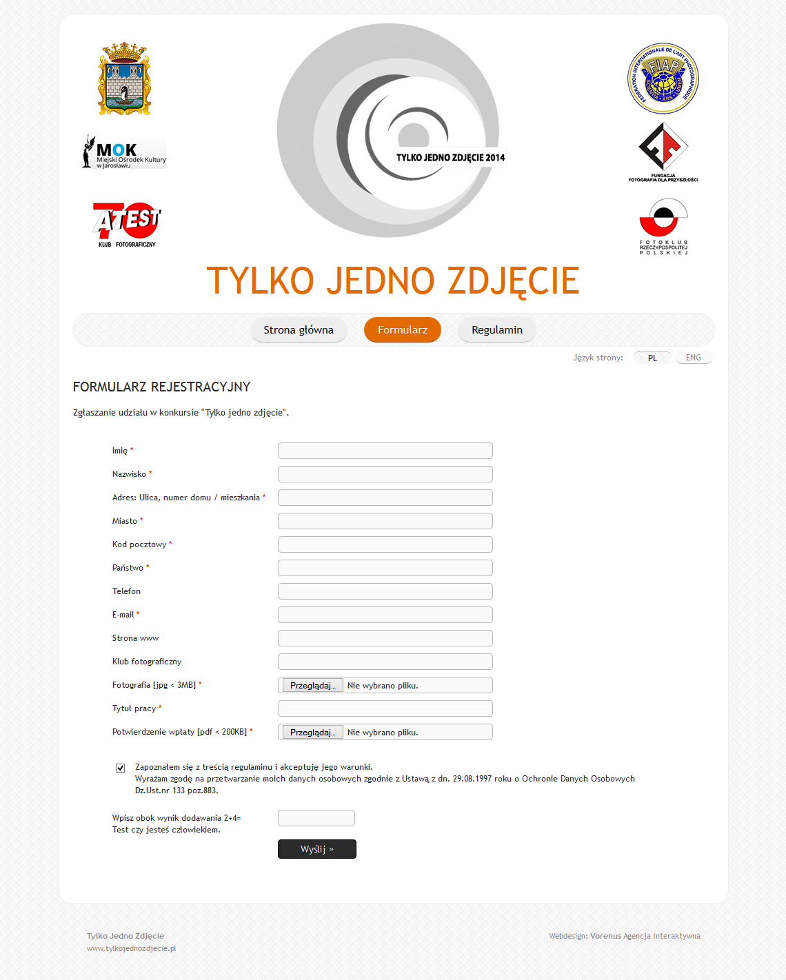 Just One Photo 2014 - Registration form